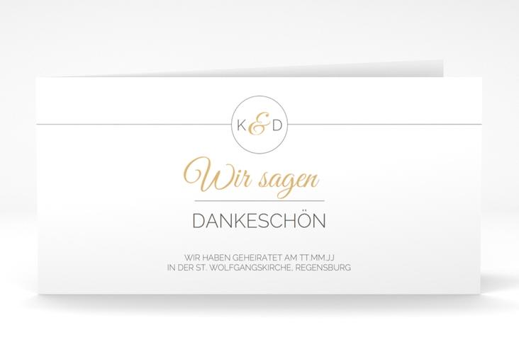 "Dankeskarte Hochzeit ""Unique"" DIN lang Klappkarte gold"