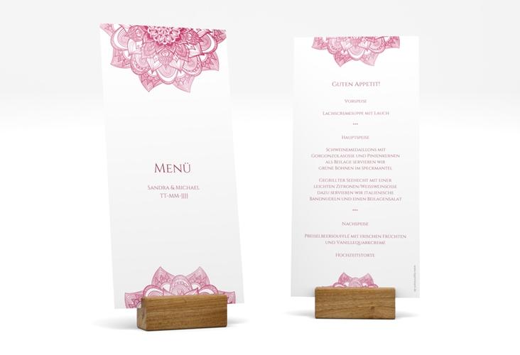 "Menükarte Hochzeit ""Delight"" DIN lang hoch pink"