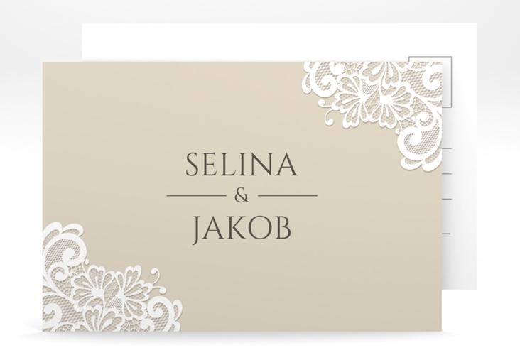 """Antwortkarte Hochzeit """"Vintage"""" A6 Postkarte beige"""