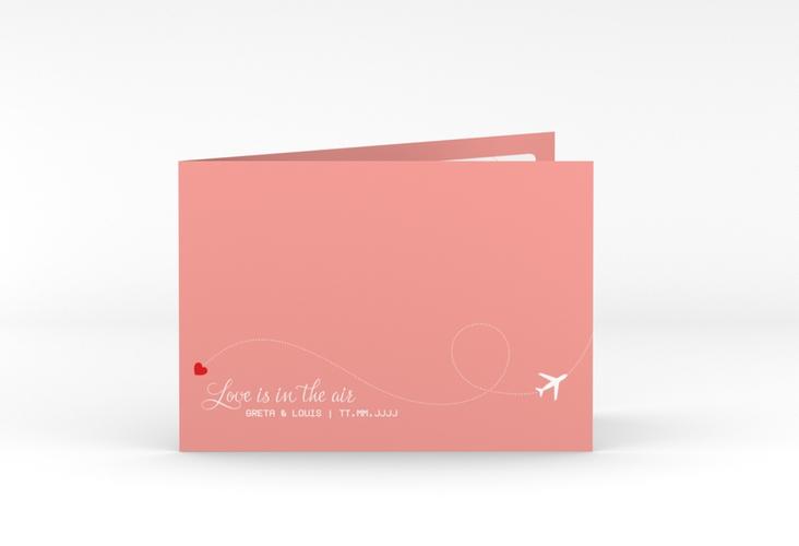 "Dankeskarte Hochzeit ""Weddingpass"" A6 Klappkarte Quer rosa"