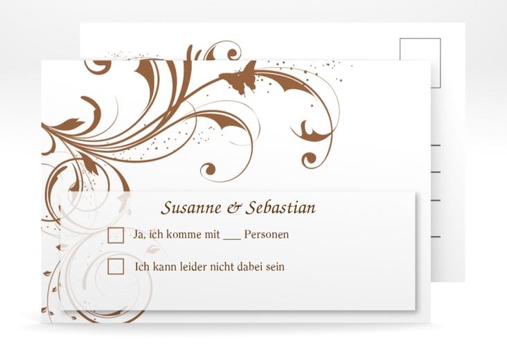 "Antwortkarte Hochzeit ""Palma"" A6 Postkarte braun"