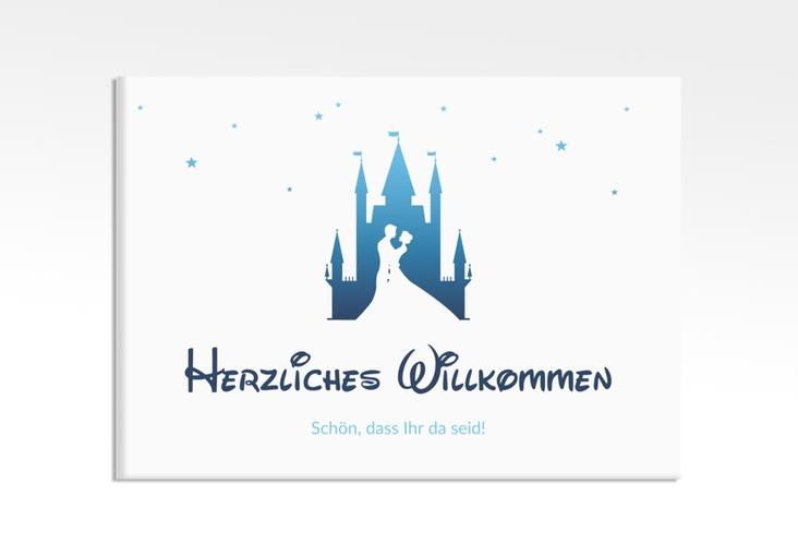 "Willkommensschild Leinwand  ""Castle"" 70 x 50 cm Leinwand blau"