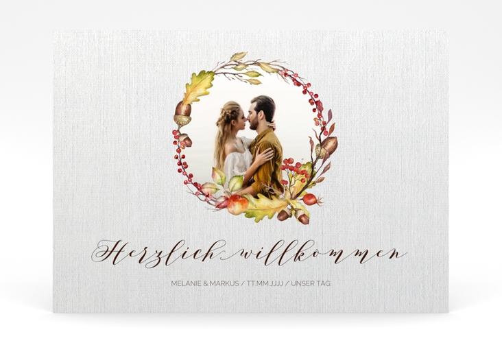 """Willkommensschild Poster """"Herbstlich"""" 70 x 50 cm Poster weiss"""