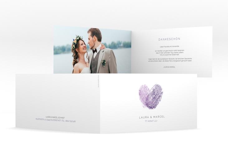 "Dankeskarte Hochzeit ""Fingerprint"" DIN lang Klappkarte lila"