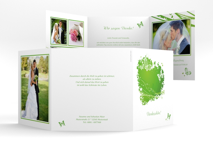 "Danksagungskarte Hochzeit ""Mailand"" Quadr. Karte doppelt gruen"