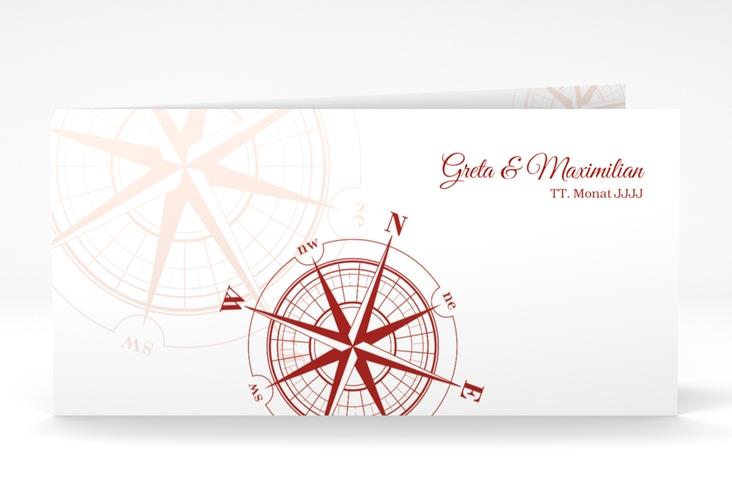 "Danksagung Hochzeit  ""Windrose"" DIN lang Klappkarte rot"