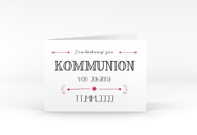 "Kommunionseinladung ""Wording"" A6 Klappkarte Quer"