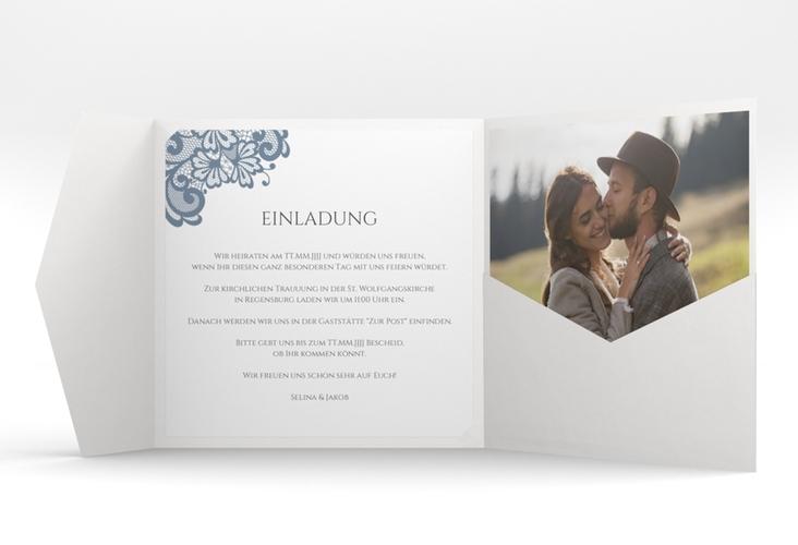 """Hochzeitseinladung """"Vintage"""" Pocketfold blau"""