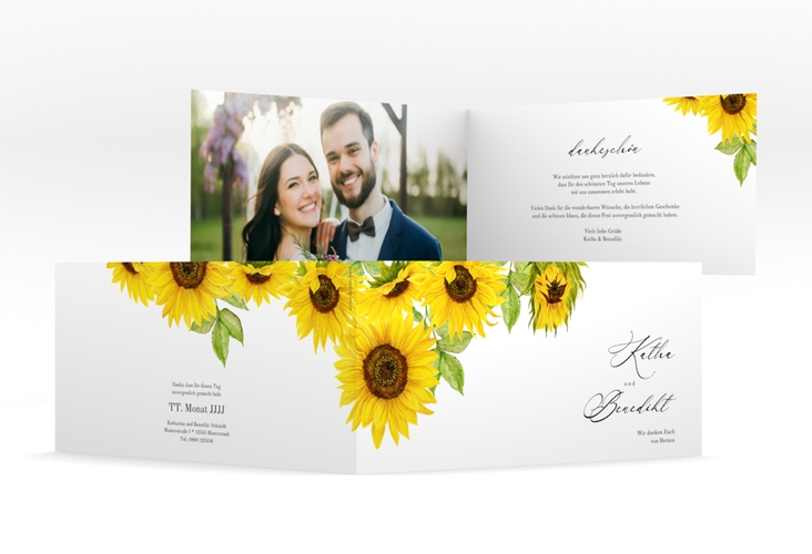 "Danksagungskarte Hochzeit ""Sonnenblume"" DIN lang Klappkarte weiss"