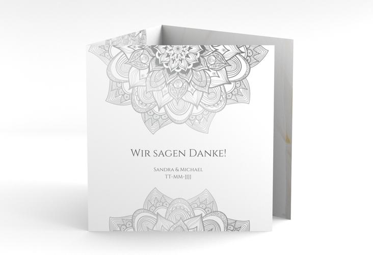 """Dankeskarte Hochzeit """"Delight"""" Quadr. Karte doppelt grau"""