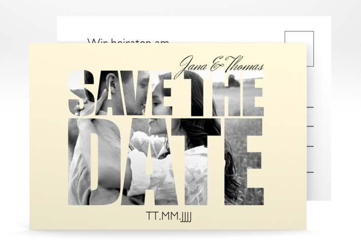 "Save the Date-Postkarte  ""Letters"" A6 Postkarte beige"