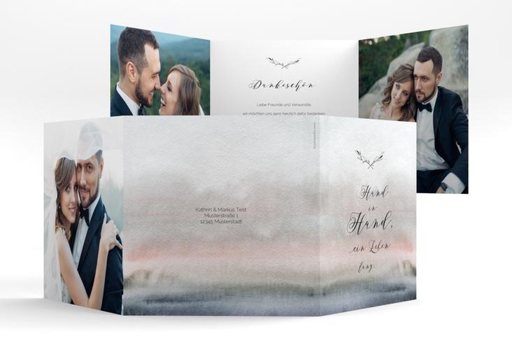 "Dankeskarte Hochzeit ""Divine"" Quadr. Karte doppelt grau"