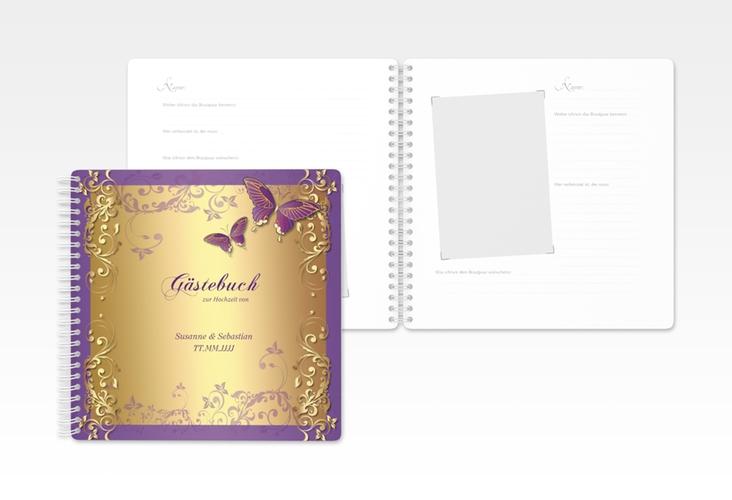 "Gästebuch Hochzeit ""Toulouse"" Ringbindung lila"