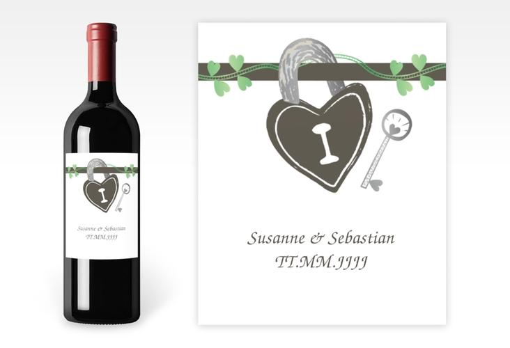 """Weinflaschenetikett Hochzeit """"Oviedo"""" Etikett Weinflasche 4er Set gruen"""