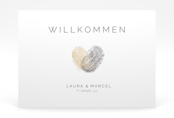 "Willkommensschild Poster ""Fingerprint"" 70 x 50 cm Poster beige"