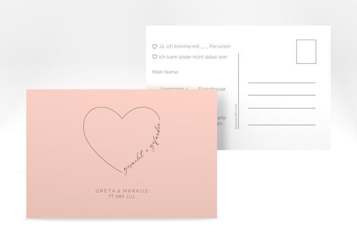 """Antwortkarte Hochzeit """"Lebenstraum"""" A6 Postkarte rosa"""