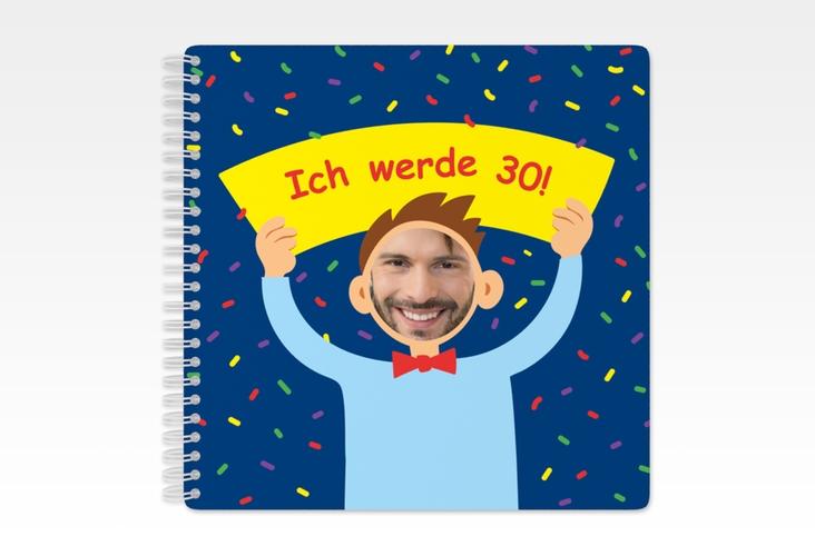 "Gästebuch Geburtstag ""Comic Man"" Ringbindung blau"