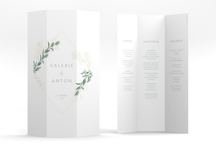 "Menükarte Hochzeit ""Verde"" DIN A4 Wickelfalz weiss"