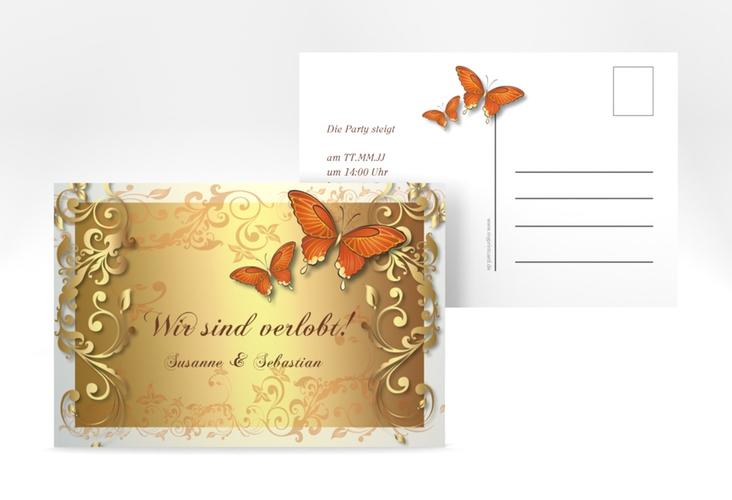 "Verlobungskarte Hochzeit ""Toulouse"" A6 Postkarte orange"