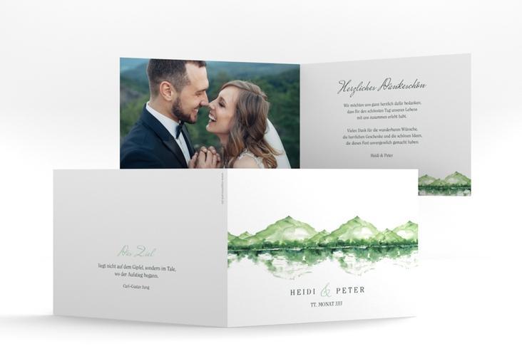 """Danksagungskarte Hochzeit """"Bergliebe"""" A6 Klappkarte Quer gruen"""