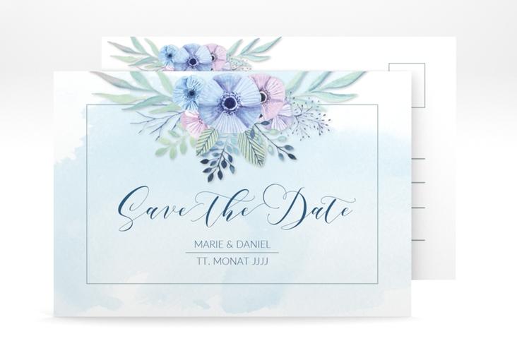 "Save the Date-Postkarte ""Surfinia"" A6 Postkarte blau"