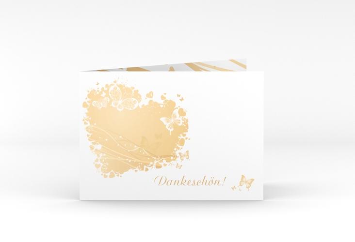 """Danksagungskarte Hochzeit """"Mailand"""" A6 Klappkarte Quer beige"""