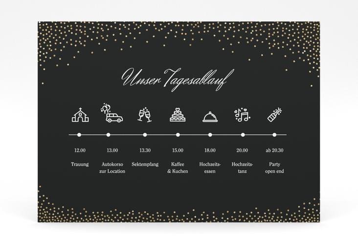 """Tagesablauf Poster Hochzeit """"Glitter"""" 70 x 50 cm Poster schwarz"""