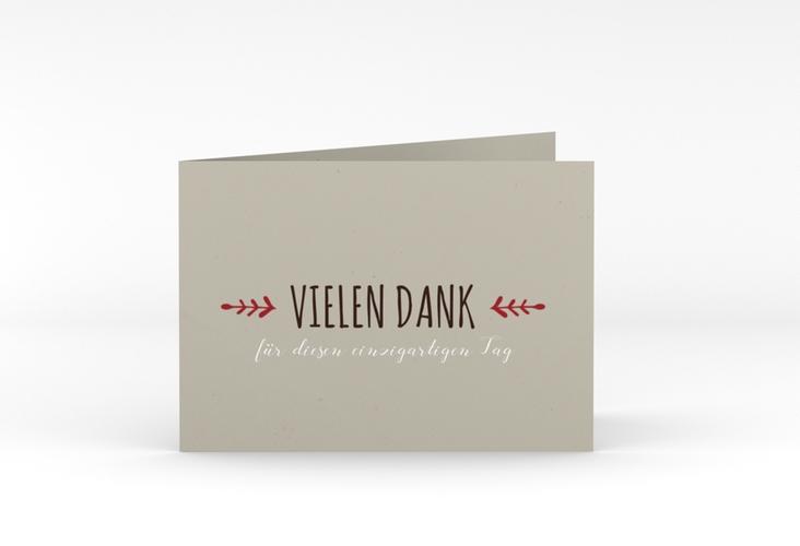 "Danksagungskarte Hochzeit ""Eden"" A6 Klappkarte Quer rot"