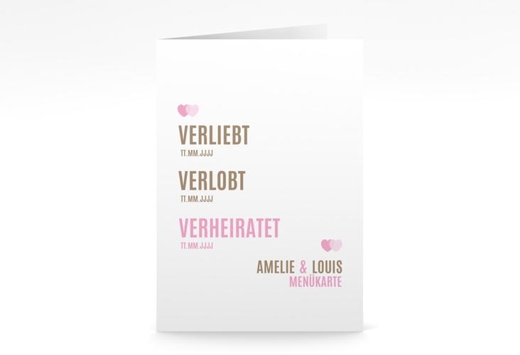 "Menükarte Hochzeit ""Couple"" DIN A5 geklappt rosa"