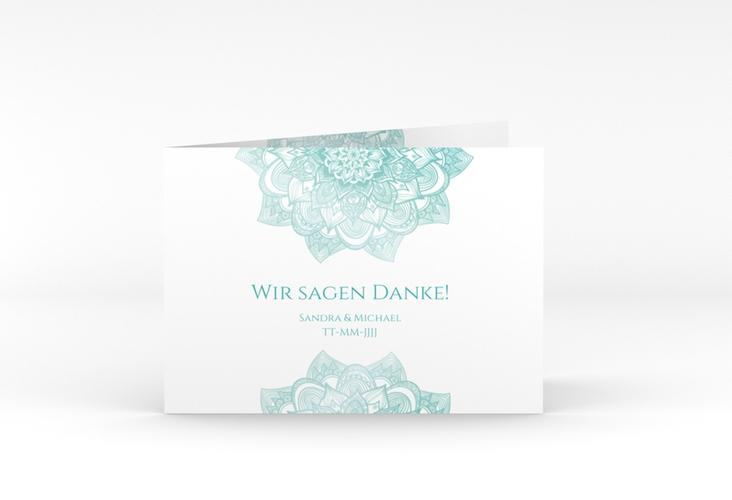 """Danksagungskarte Hochzeit """"Delight"""" A6 Klappkarte Quer mint"""