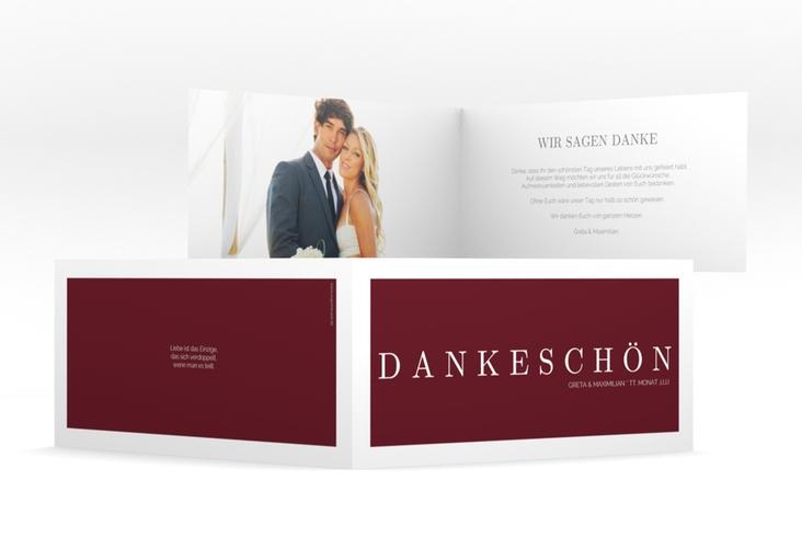 "Dankeskarte Hochzeit ""Simply"" DIN lang Klappkarte rot"