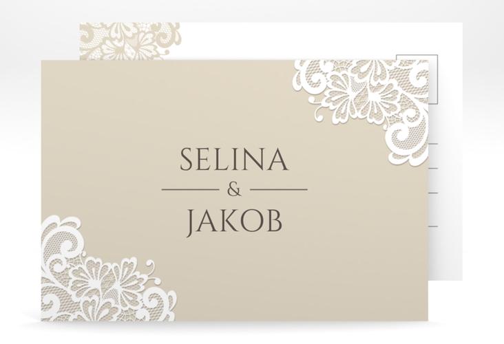 """Verlobungskarte Hochzeit """"Vintage"""" A6 Postkarte beige"""