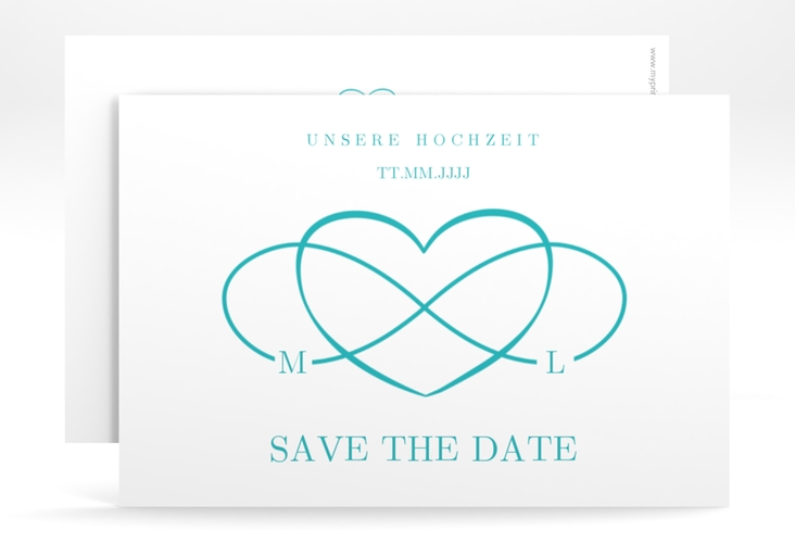 """Save the Date-Karte """"Infinity"""" A6 quer tuerkis"""