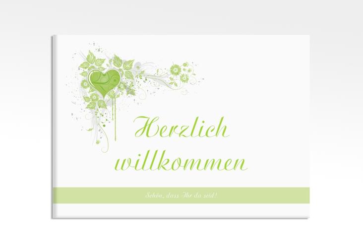 """Willkommensschild Leinwand """"Triest"""" 70 x 50 cm Leinwand gruen"""