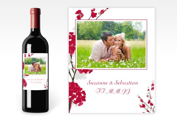 """Weinflaschenetikett Hochzeit """"Salerno"""" Etikett Weinflasche 4er Set rot"""