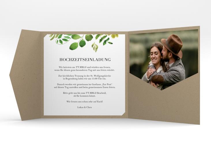 """Hochzeitseinladung """"Botany"""" Pocketfold beige"""