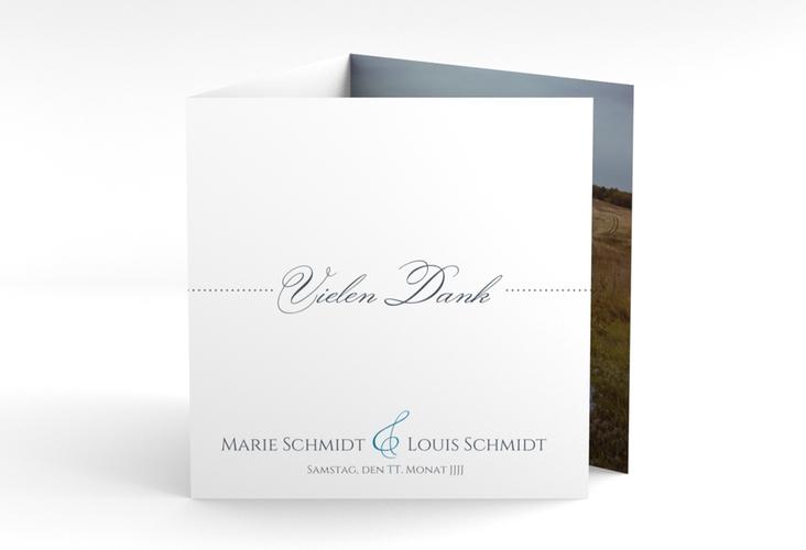 "Dankeskarte Hochzeit ""Pure"" Quadr. Karte doppelt blau"
