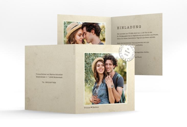"""Hochzeitseinladung """"Stamp"""" Quadratische Klappkarte"""