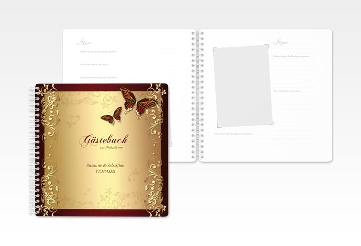 """Gästebuch Hochzeit """"Toulouse"""" Ringbindung rot"""