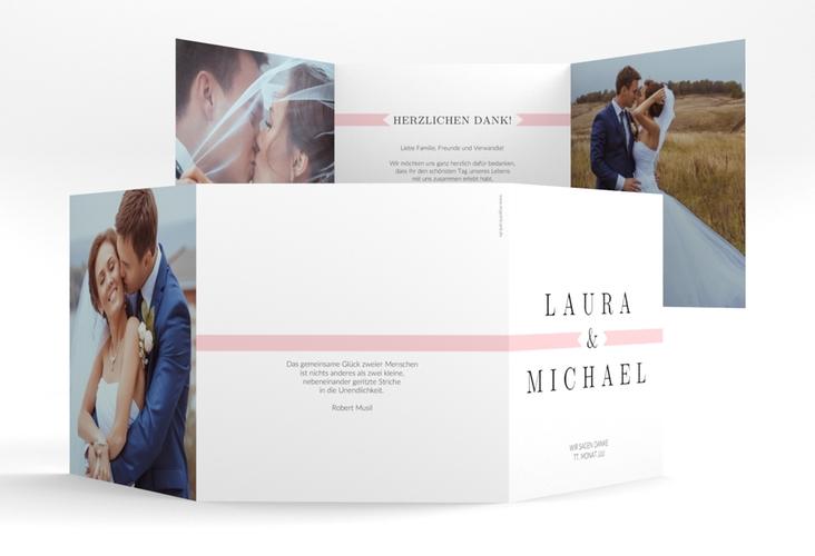 """Dankeskarte Hochzeit """"Tender"""" Quadr. Karte doppelt rosa"""