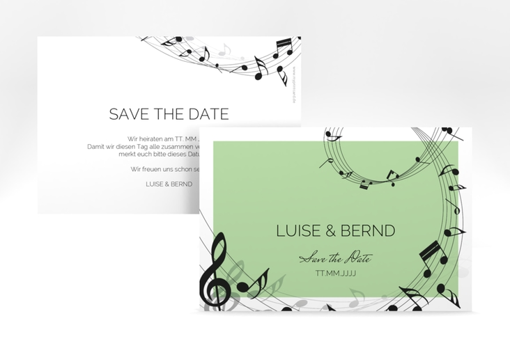 "Save the Date-Karte ""Melody"" A6 quer gruen"