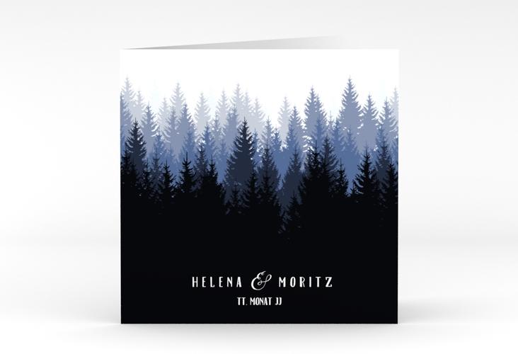 """Hochzeitseinladung """"Forest"""" Quadratische Klappkarte blau"""