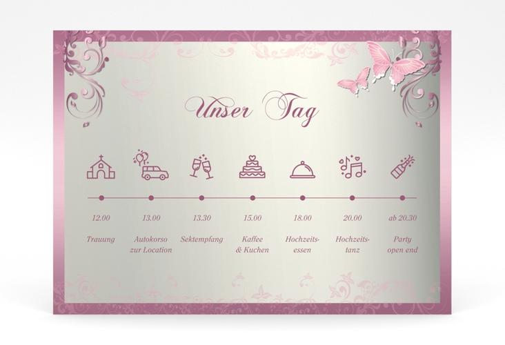 "Tagesablauf Poster Hochzeit ""Toulouse"" 70 x 50 cm Poster rosa"