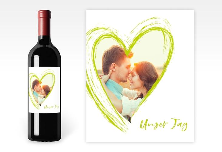 """Weinetikett zur Hochzeit """"Liebe"""" Etikett Weinflasche 4er Set gruen"""
