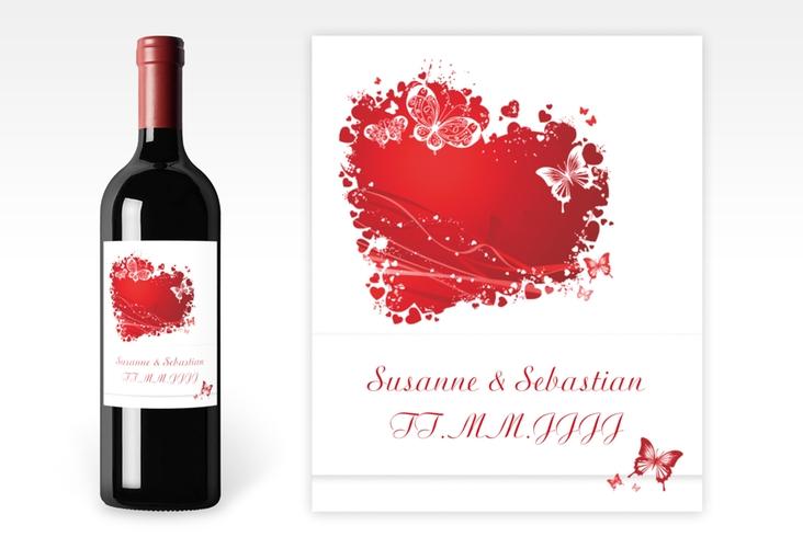 """Weinflaschenetikett Hochzeit """"Mailand"""" Etikett Weinflasche 4er Set rot"""