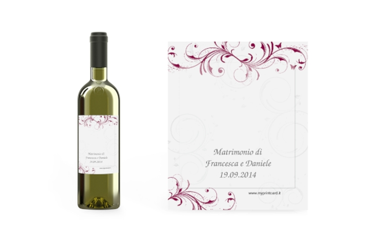 Etichette vino matrimonio collezione Palma Etikett Weinflasche 4er Set fucsia