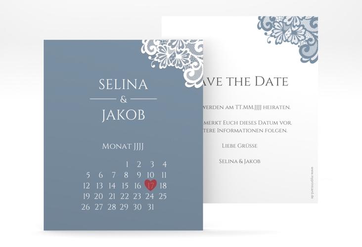 """Save the Date-Kalenderblatt """"Vintage"""" Kalenderblatt-Karte blau"""