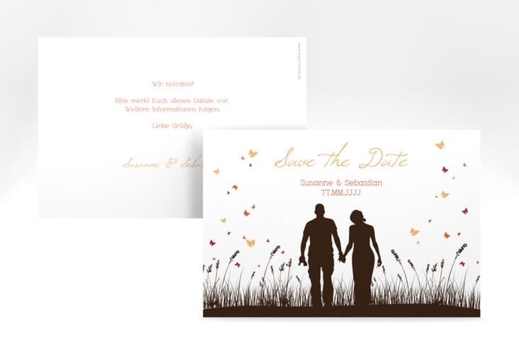 """Save the Date-Karte Hochzeit """"Rouen"""" A6 quer braun"""