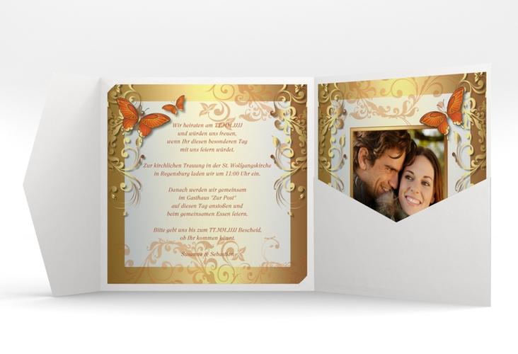 """Hochzeitseinladung """"Toulouse"""" Pocketfold orange"""