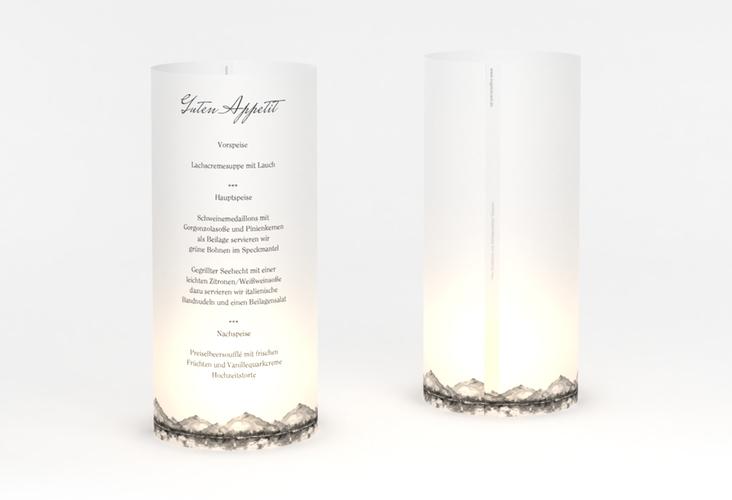 """Windlicht Menü Hochzeit """"Bergliebe"""" Windlicht grau"""